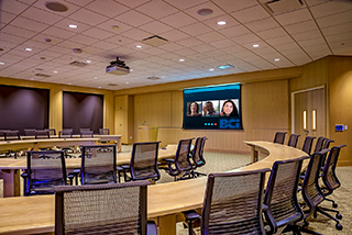 Conferencing System with remote blinds and crestron touch panel