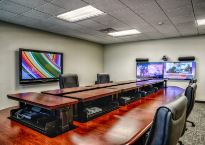 conference room with live camera footage and network phones