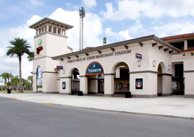 Renovated entrance of Joker Marchant Stadium